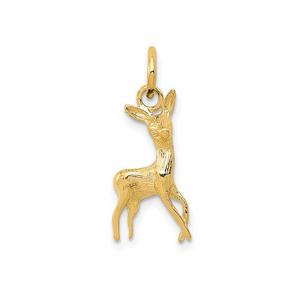 Polished Open-Backed Deer Charm - 14K Yellow Gold