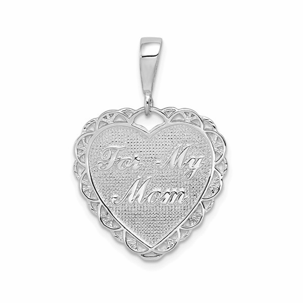 Polished Reversible For My Mom Heart Pendant - 14K White Gold