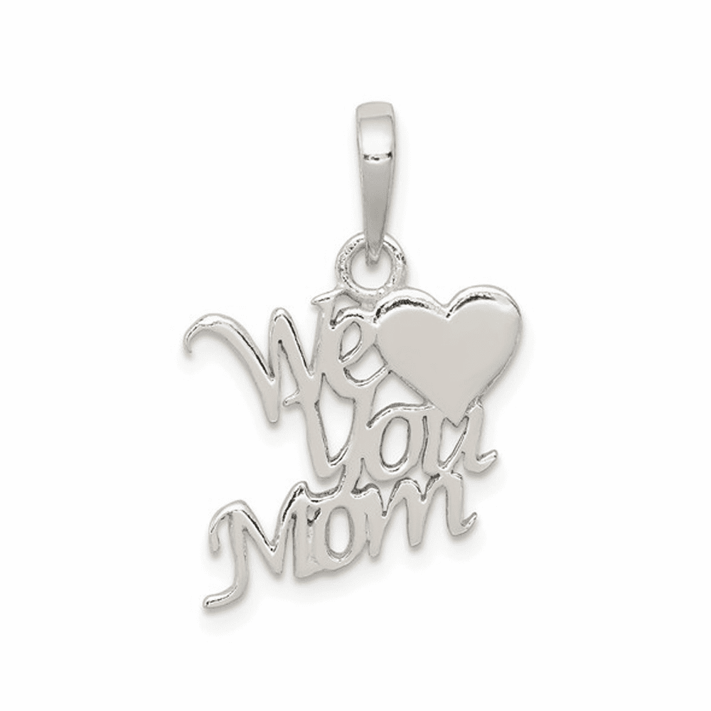 Polished We Love You Mom Pendant - Sterling Silver