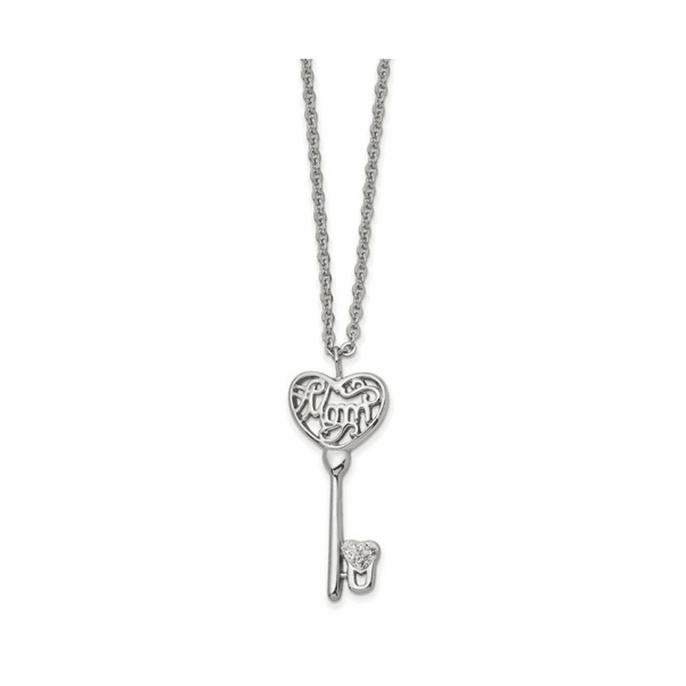 Polished with Crystal Mom Key Necklace - Stainless Steel 18 Inch