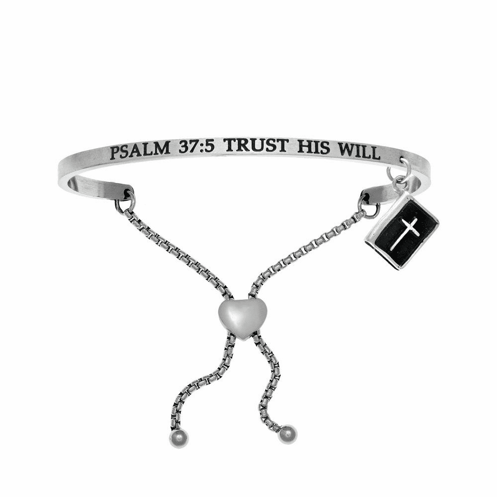 Psalm 37:5 Trust His Will Adjustment Bangle - Stainless Steel