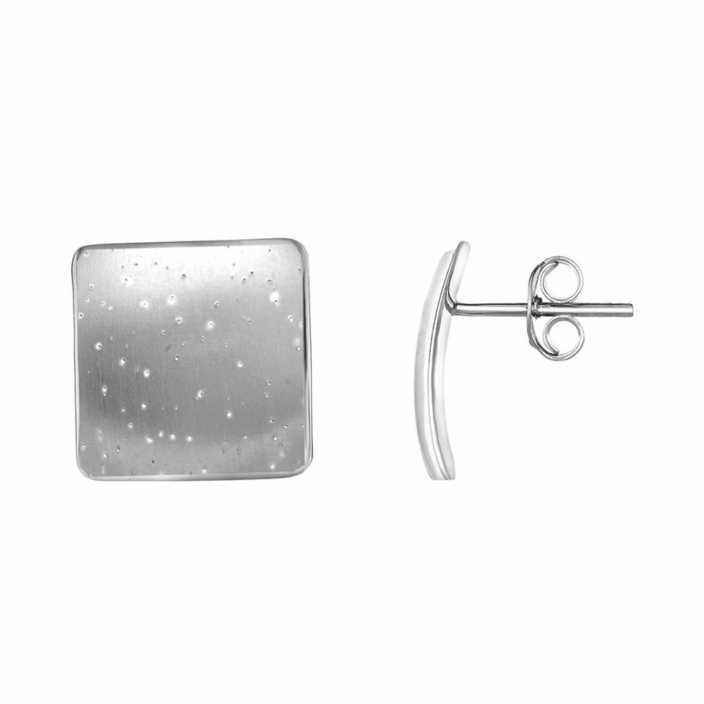 Rhodium Finish Concave Square Type Post Earrings - Sterling Silver