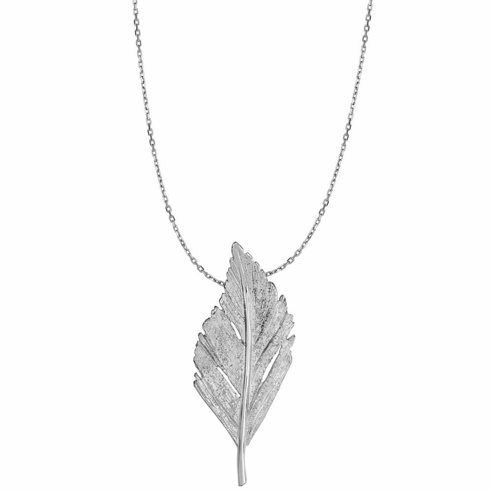 Rhodium Finish Fancy Leaf Pendant Necklace - Sterling Silver 18 Inch
