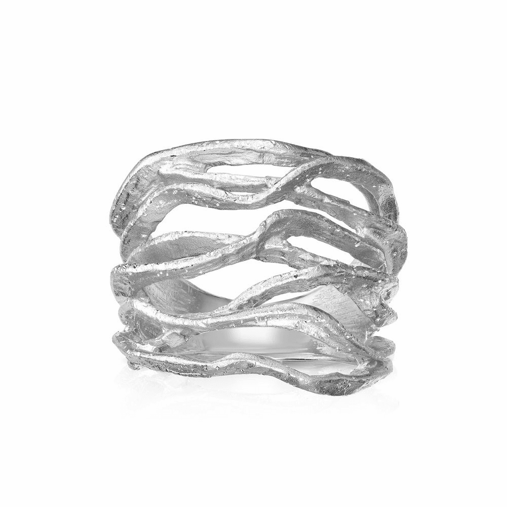 Rhodium Finish Fancy Sparkle Ring - Sterling Silver Size 7