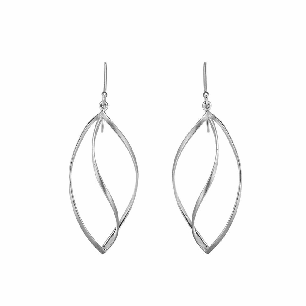 Rhodium Finish Polished Fancy Earrings - Sterling Silver