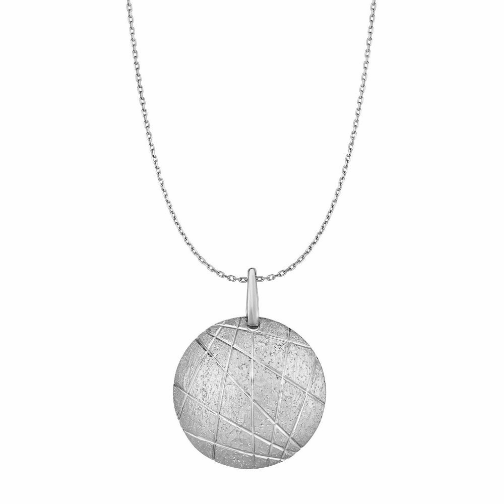 Rhodium Finish Round Shield Pendant Necklace - Sterling Silver 18 Inch
