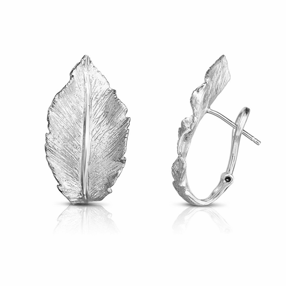 Rhodium Finish Sparkle Earrings - Sterling Silver