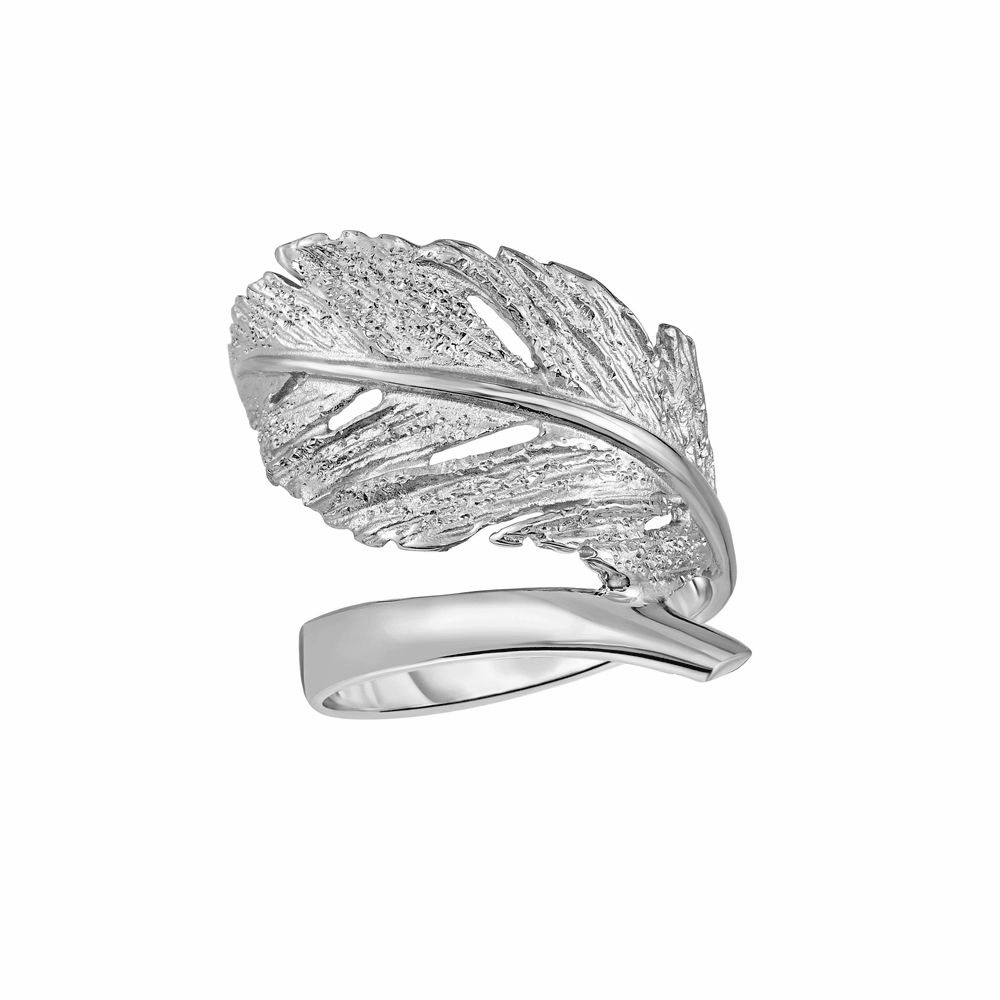 Rhodium Finish Stardust Fancy Leaf Rings - Sterling Silver Size 7