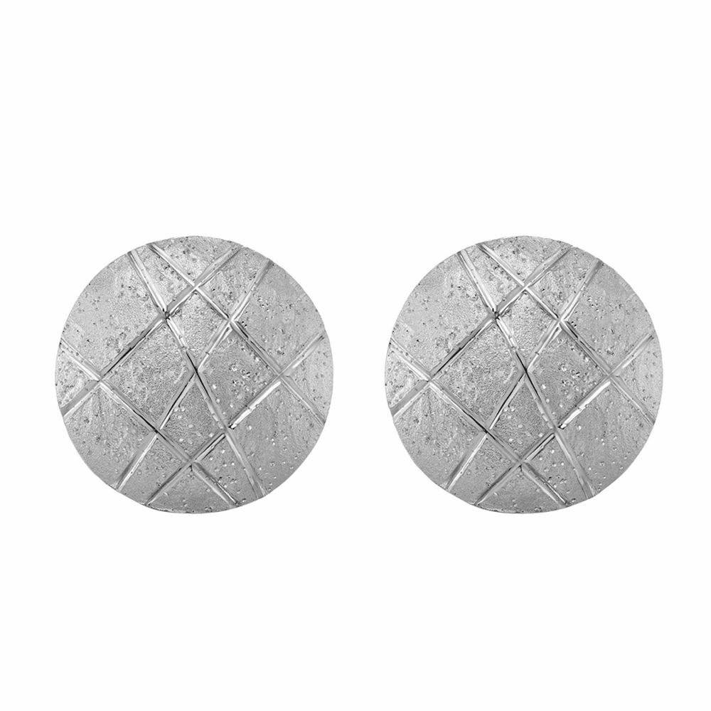 Rhodium Finish Stardust Round Shield Earrings - Sterling Silver