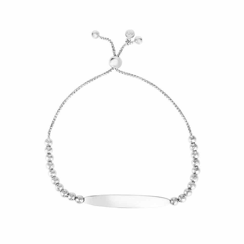 Rhodium Finish Toggle Clasp Bracelet - Sterling Silver Size 9.25 Inch