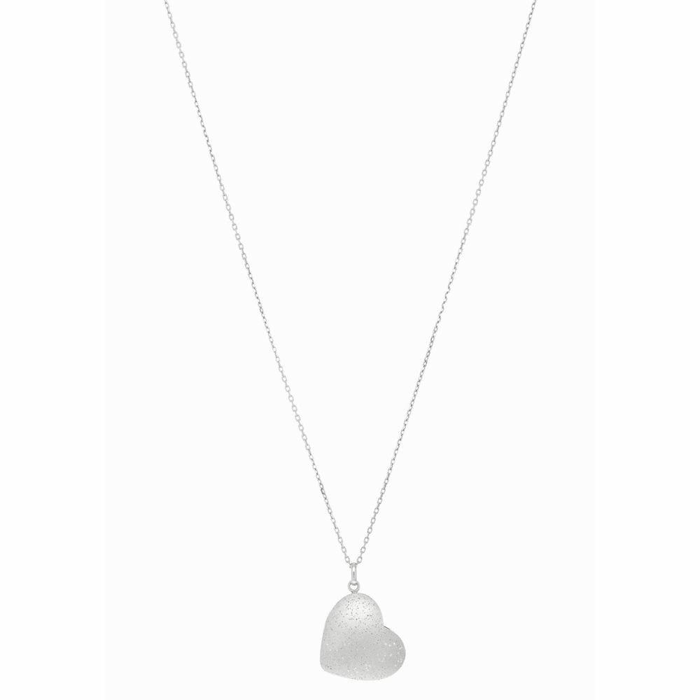 Rhodium Heart Charm Necklace - Sterling Silver 18 Inch