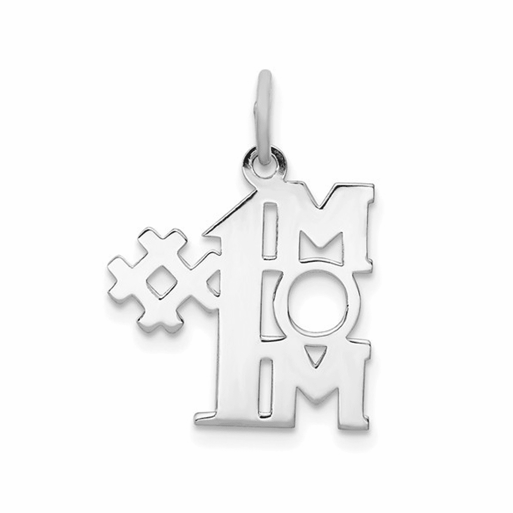 Rhodium-Plated # 1 Mom Polished Charm - Sterling Silver