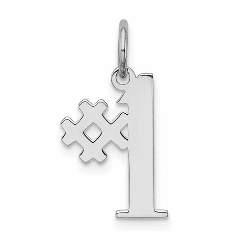 Rhodium-Plated # 1 Polished Charm - Sterling Silver