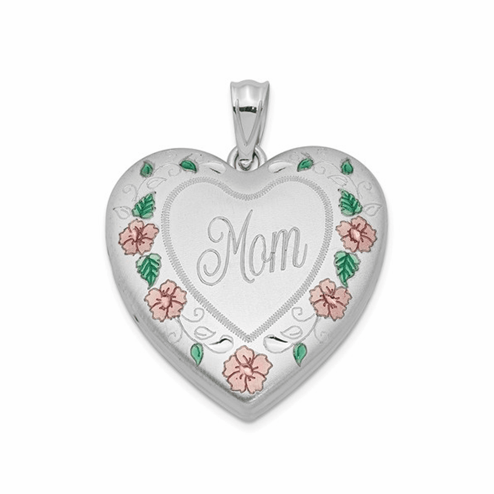 Rhodium-Plated 24mm Enameled, D/C Mom Heart Locket - Sterling Silver