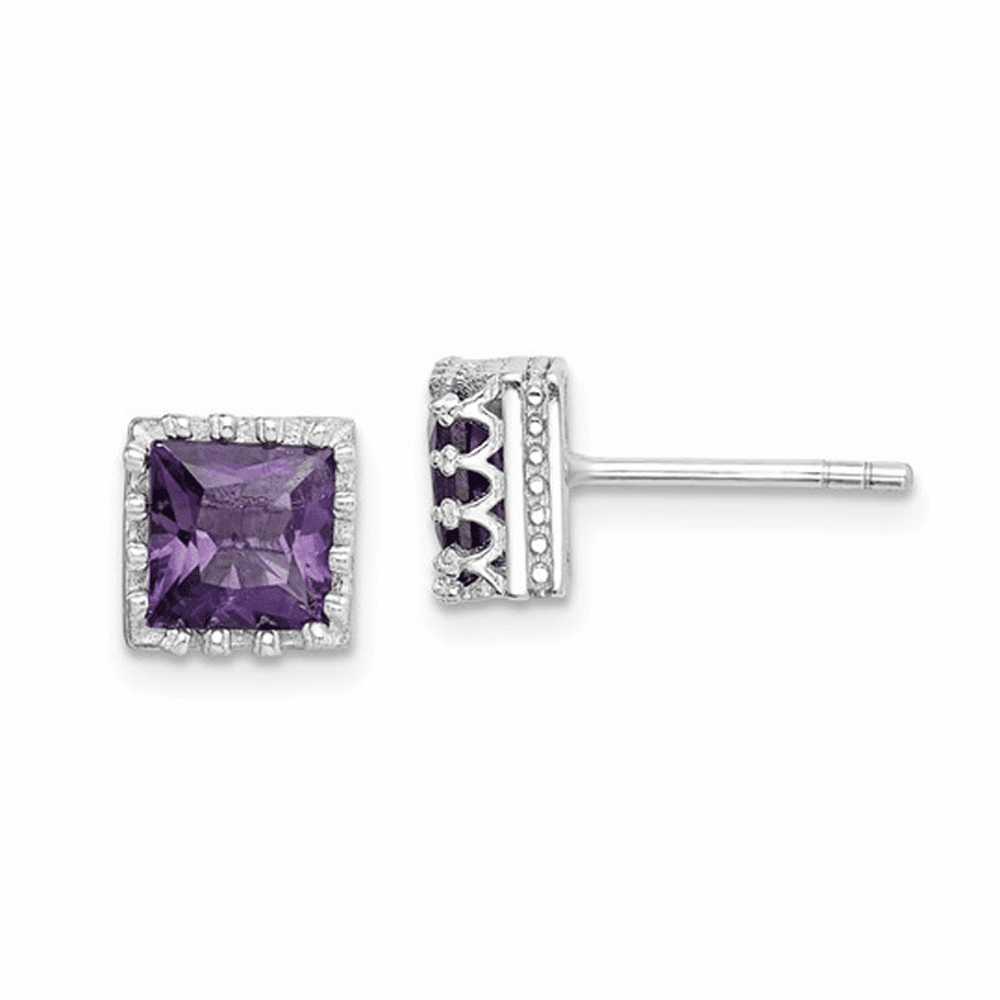 Rhodium-Plated 6mm Polished Amethyst Post Earrings - Sterling Silver