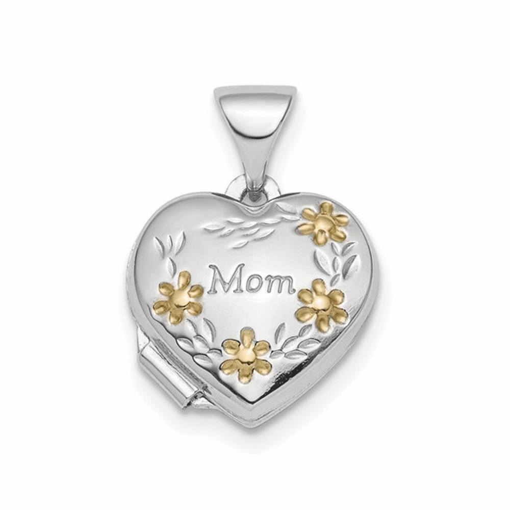 Rhodium-Plated and Gold-Tone Floral Mom Heart Locket - Sterling Silver
