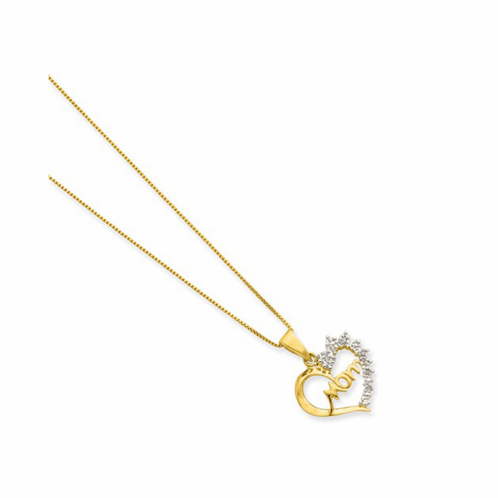 Rhodium-Plated and Vermeil Diamond Mom Necklace - Silver 16 Inch