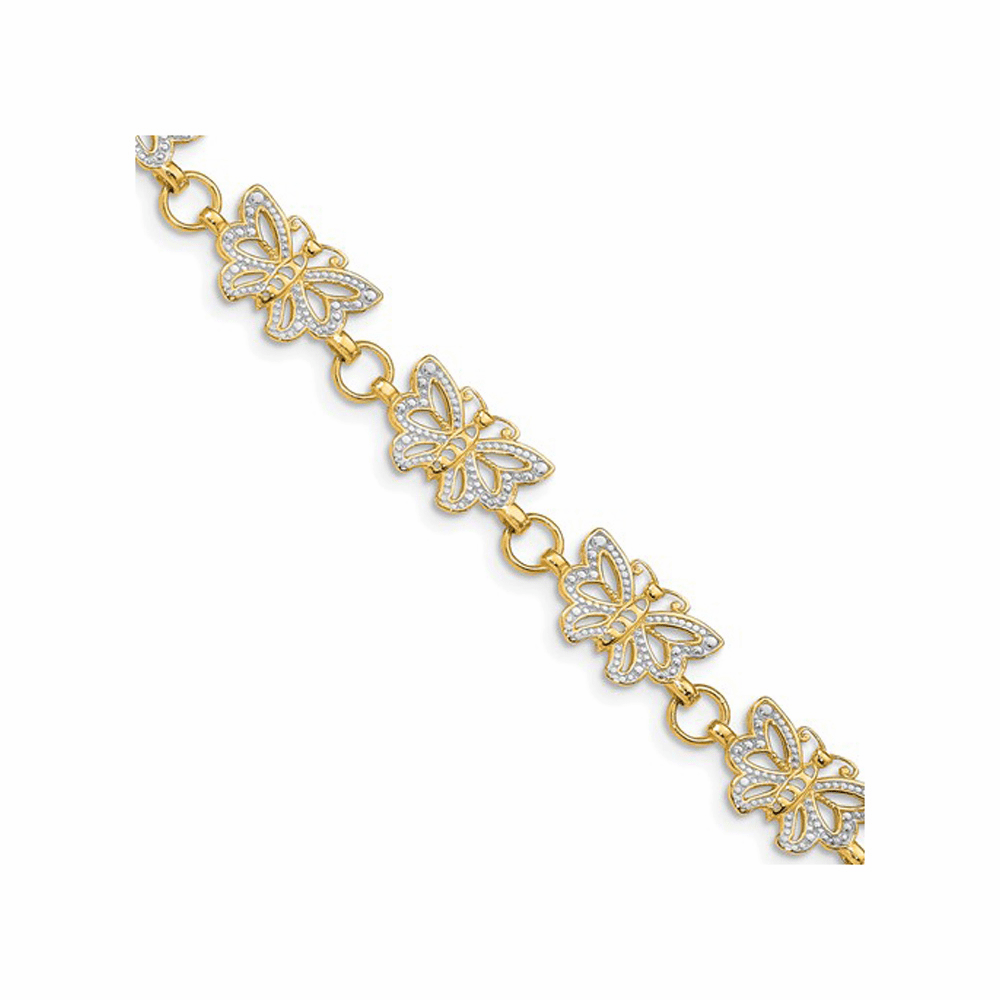 Rhodium Plated Butterfly Bracelet - 14K Yellow Gold 7 Inch