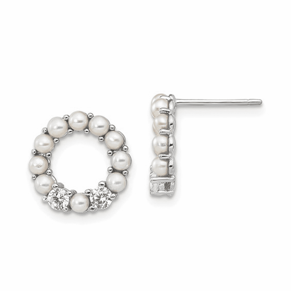 Rhodium-Plated Button Pearl CZ Post Earrings - Sterling Silver
