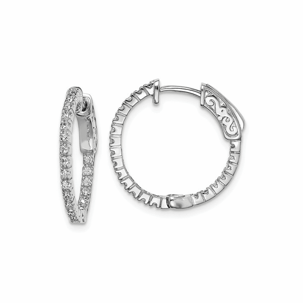 Rhodium-Plated CZ in and Out Hinged Hoop Earrings - Sterling Silver