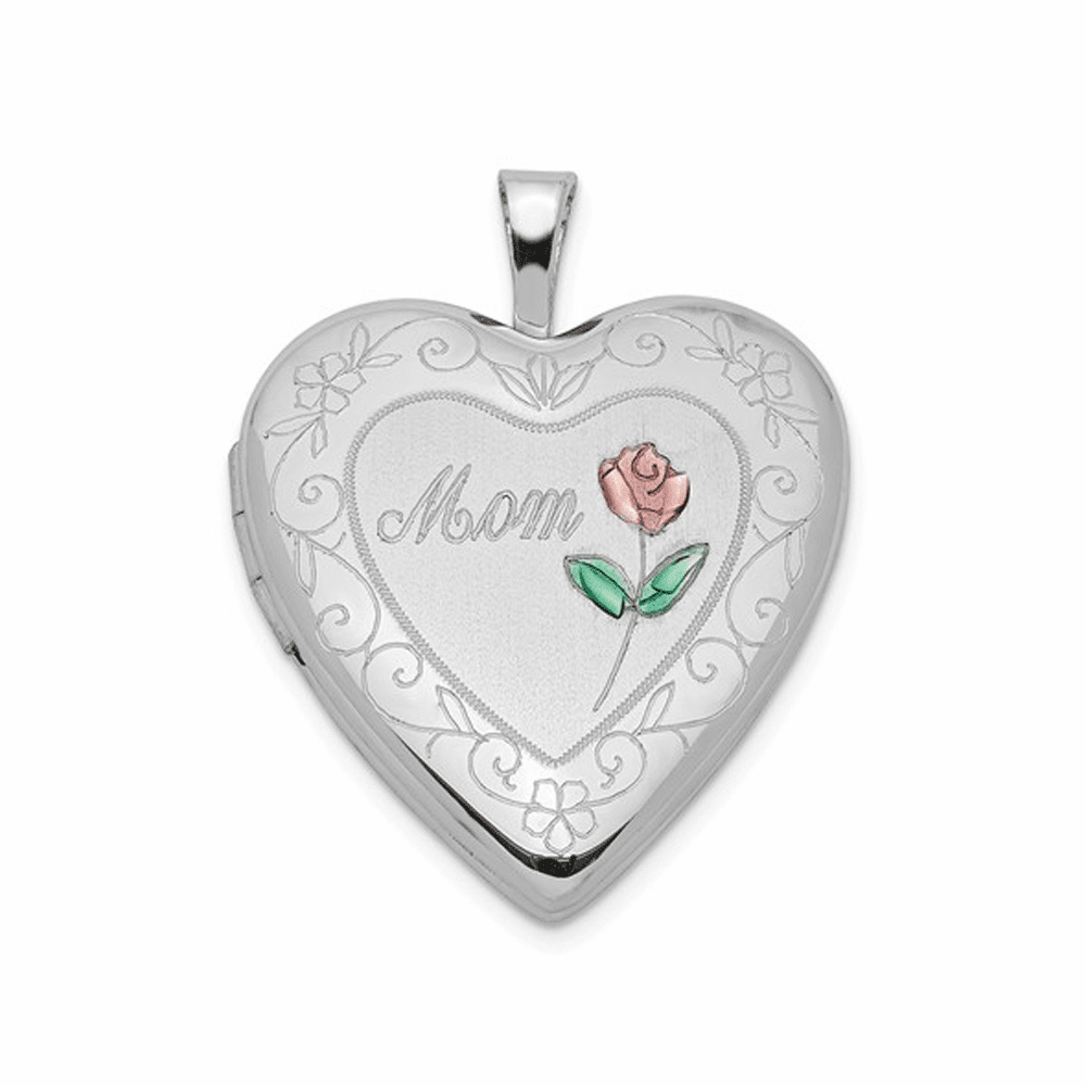 Rhodium-Plated D/C And Enameled Mom Heart Locket - Sterling Silver