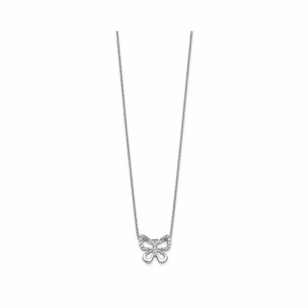 Rhodium-Plated Diamond Butterfly Necklace - 14K White Gold 18 Inch