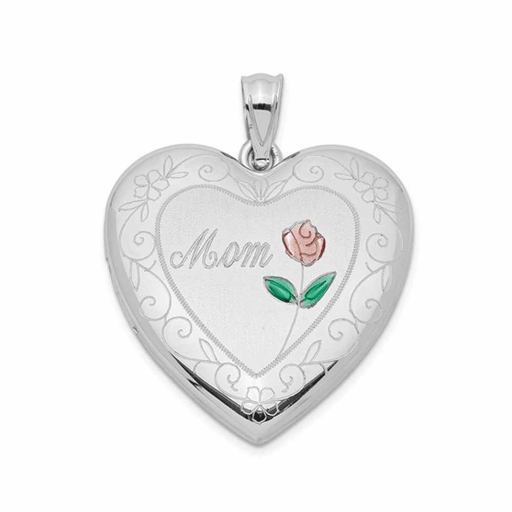 Rhodium-Plated Enameled, D/C Mom Heart Locket - Sterling Silver