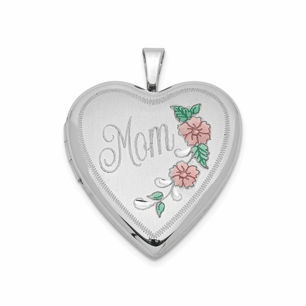 Rhodium-Plated Enameled Floral Mom Heart Locket - Sterling Silver