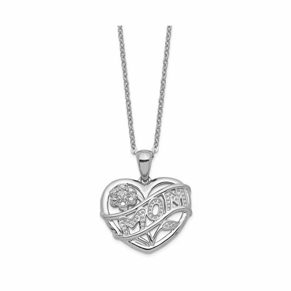 Rhodium-Plated Mom Necklace - Sterling Silver 18 Inch