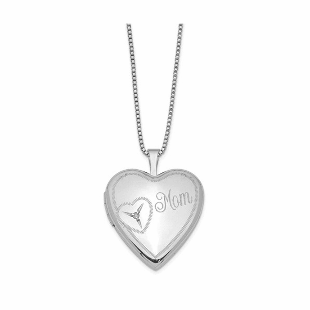 Rhodium-Plated Mom with Diamond Heart Locket - Sterling Silver