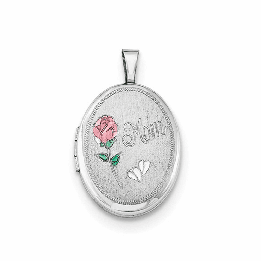 Rhodium-Plated Mom with Enamel Flower Oval Locket - Sterling Silver
