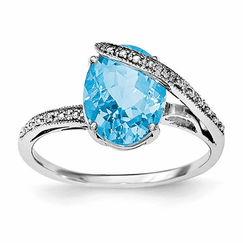 Rhodium-plated Polished Swiss Blue Topaz Rings