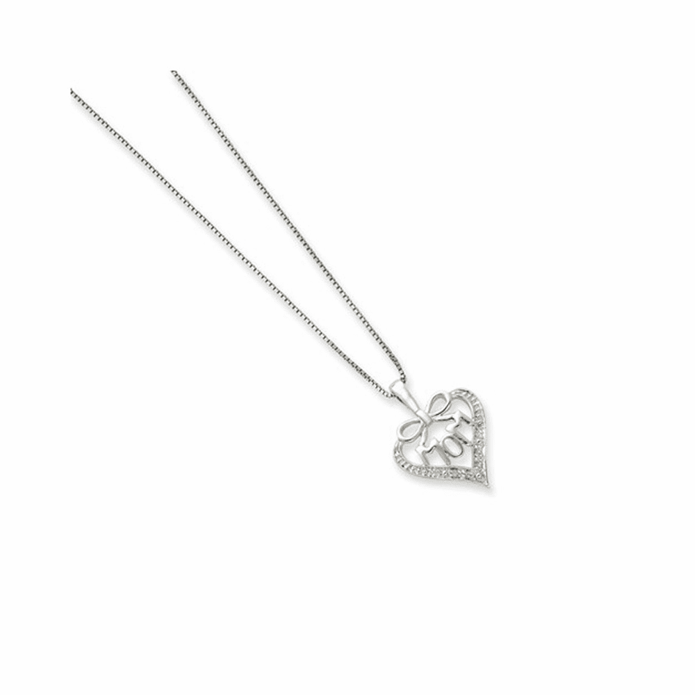 Rhodium-Plated Solid Diamond Mom Necklace - Sterling Silver 16 Inch