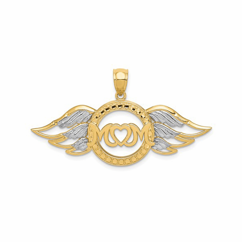 Rhodium Polished Mom with Wings Pendant - 14K Yellow Gold & Rhodium