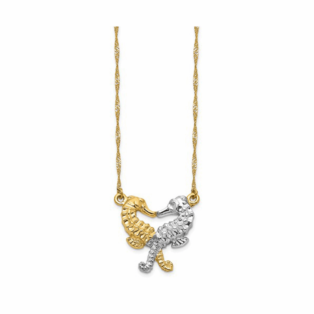 Rhodium Polished Seahorses Necklace - 14K Gold 16.50 Inch