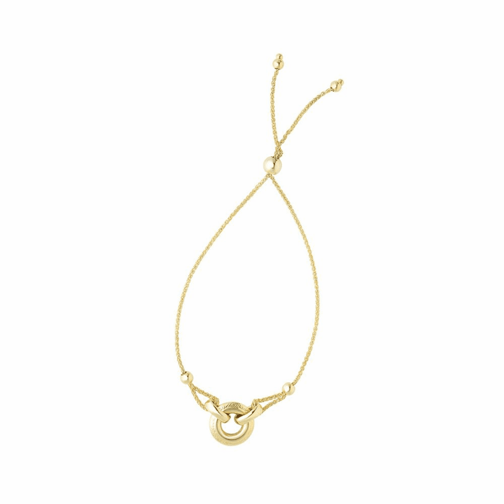 Ring Anchored Element Bracelet - 14K Yellow Gold Size 9.25 Inch