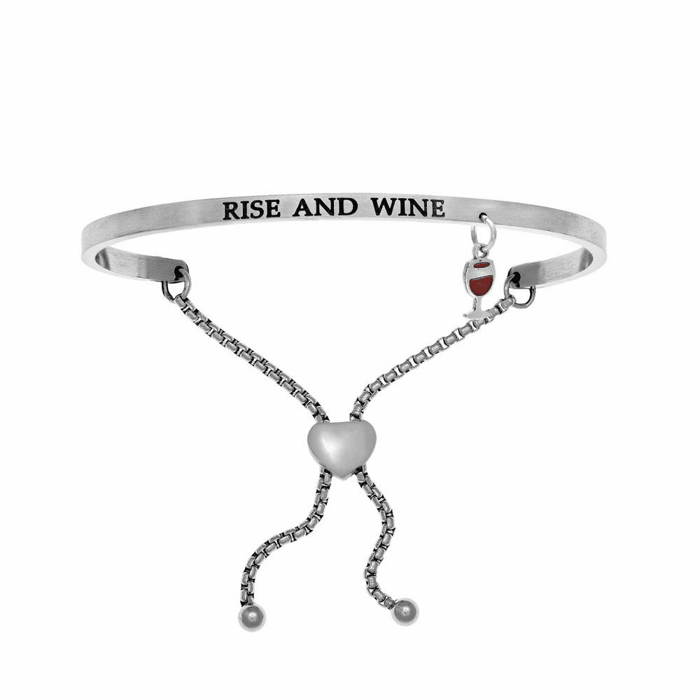 Rise and Wine Adjustment Bangle - Stainless Steel