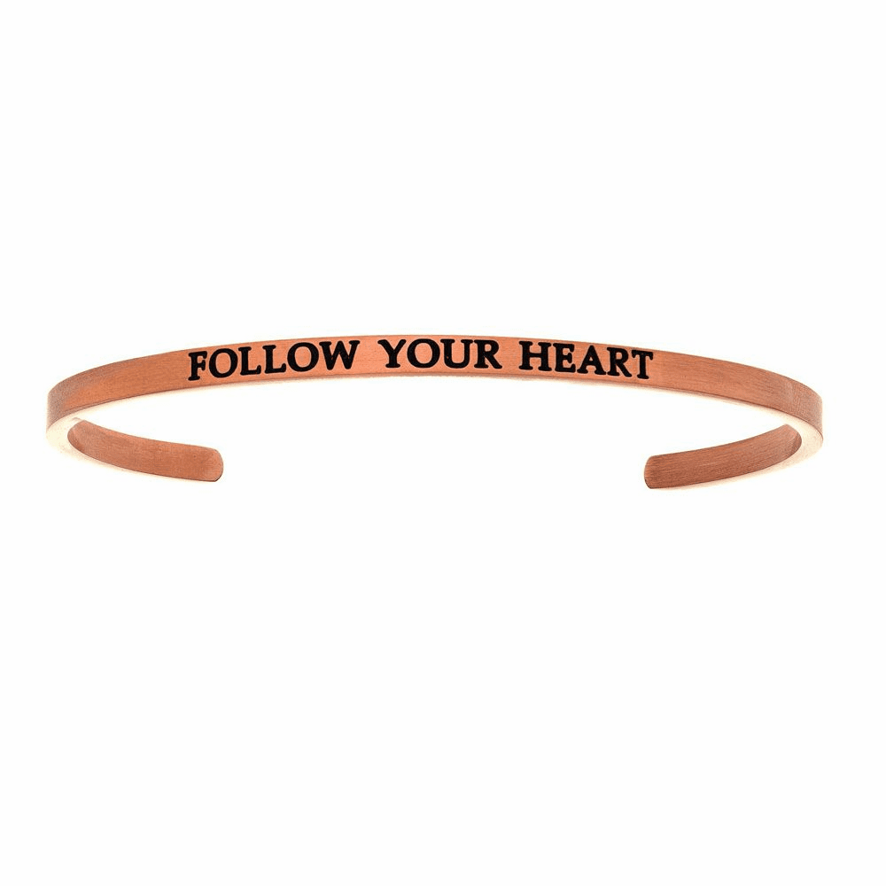 Rose Finish Follow Your Heart Cuff Bangle - Stainless Steel