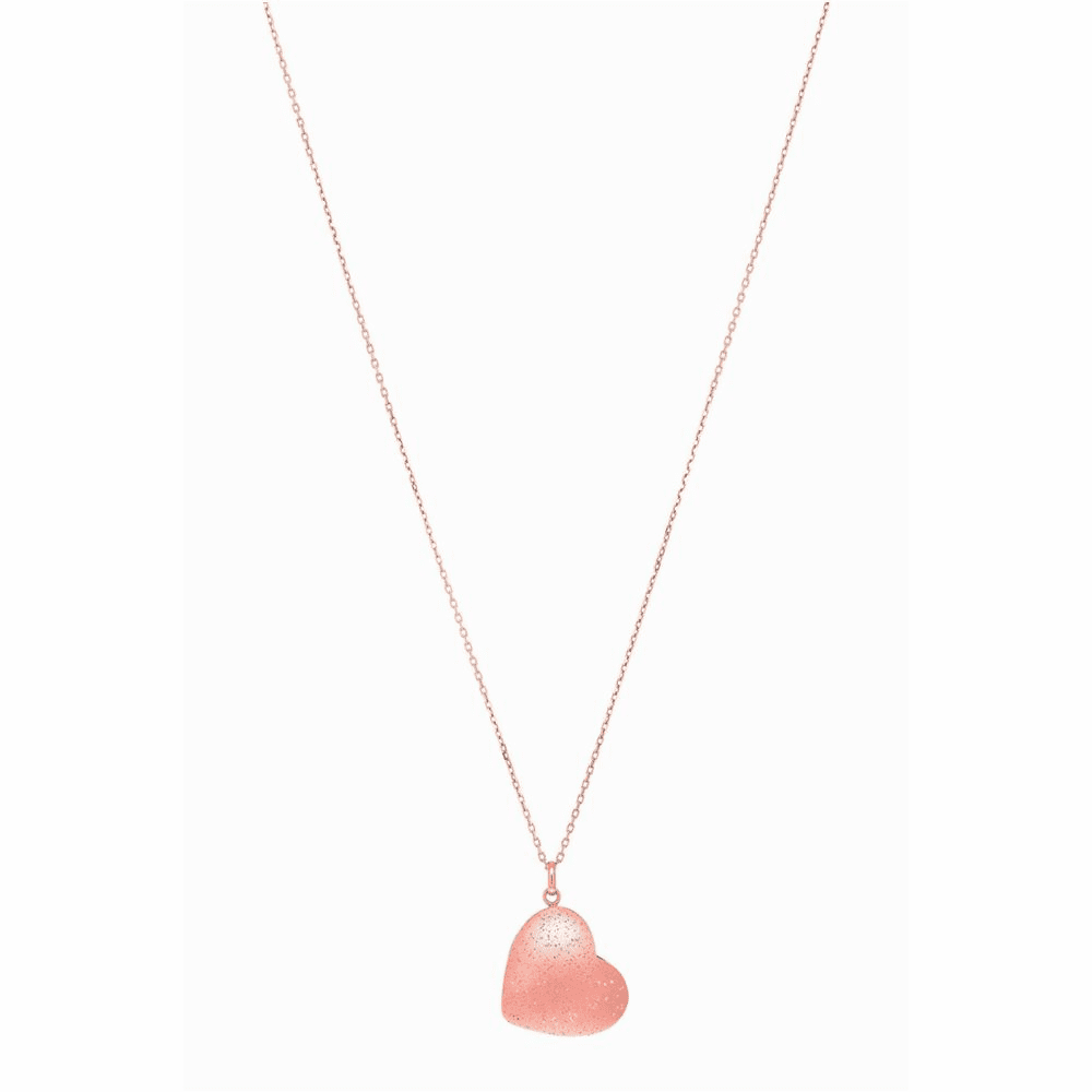 Rose Finish Heart Pendant Necklace - Sterling Silver 18 Inch
