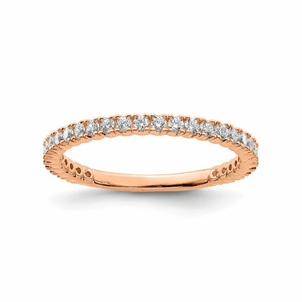 Rose Gold-Plated 28 Stone CZ Ring - Sterling Silver Size 5