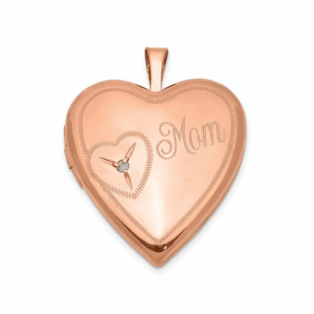 Rose Gold-Plated Mom with Diamond Heart Locket - Sterling Silver