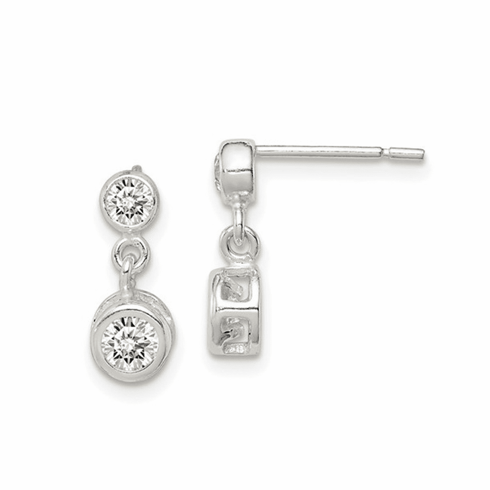 Round CZ Post Earrings - Sterling Silver