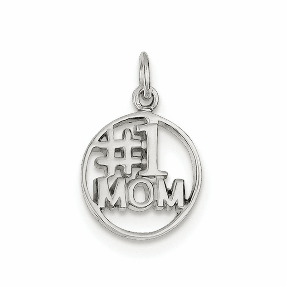 Round Polished #1 Mom Pendant - Sterling Silver