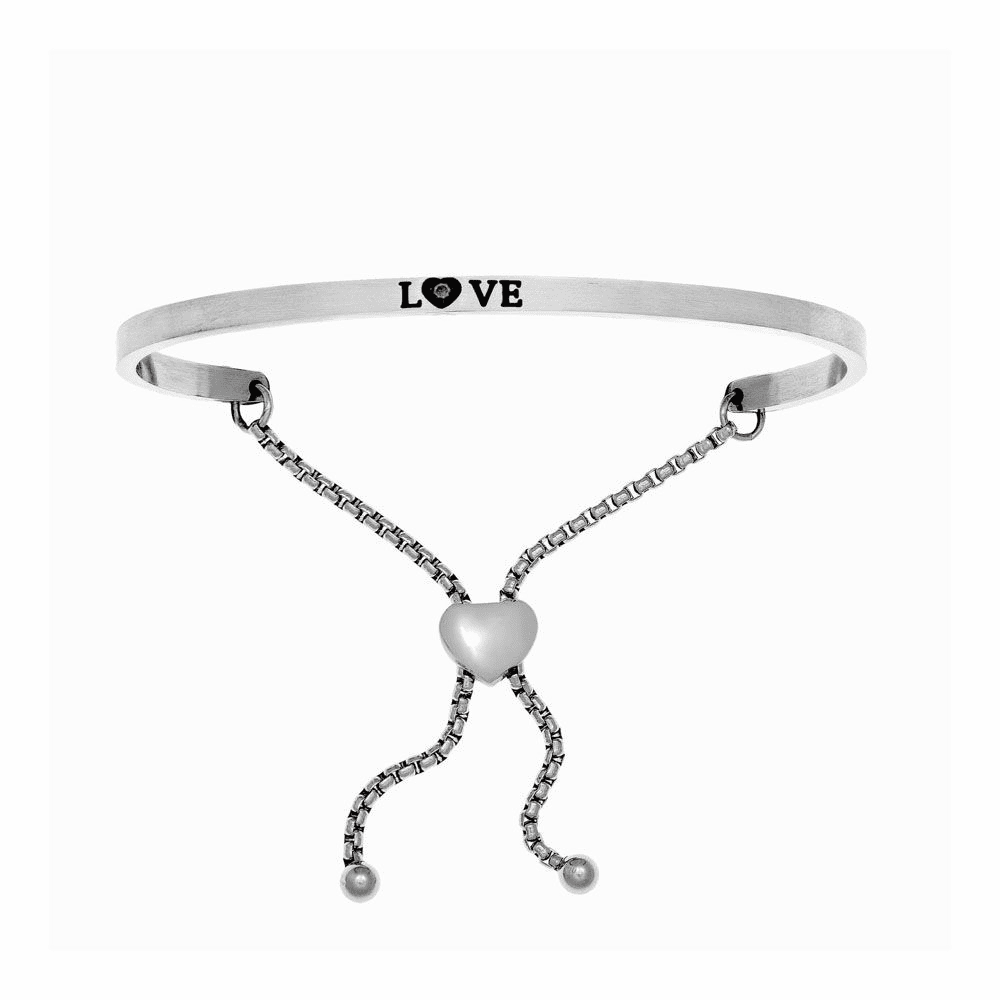 Satin Square Love Adjustable Bangle - Stainless Steel