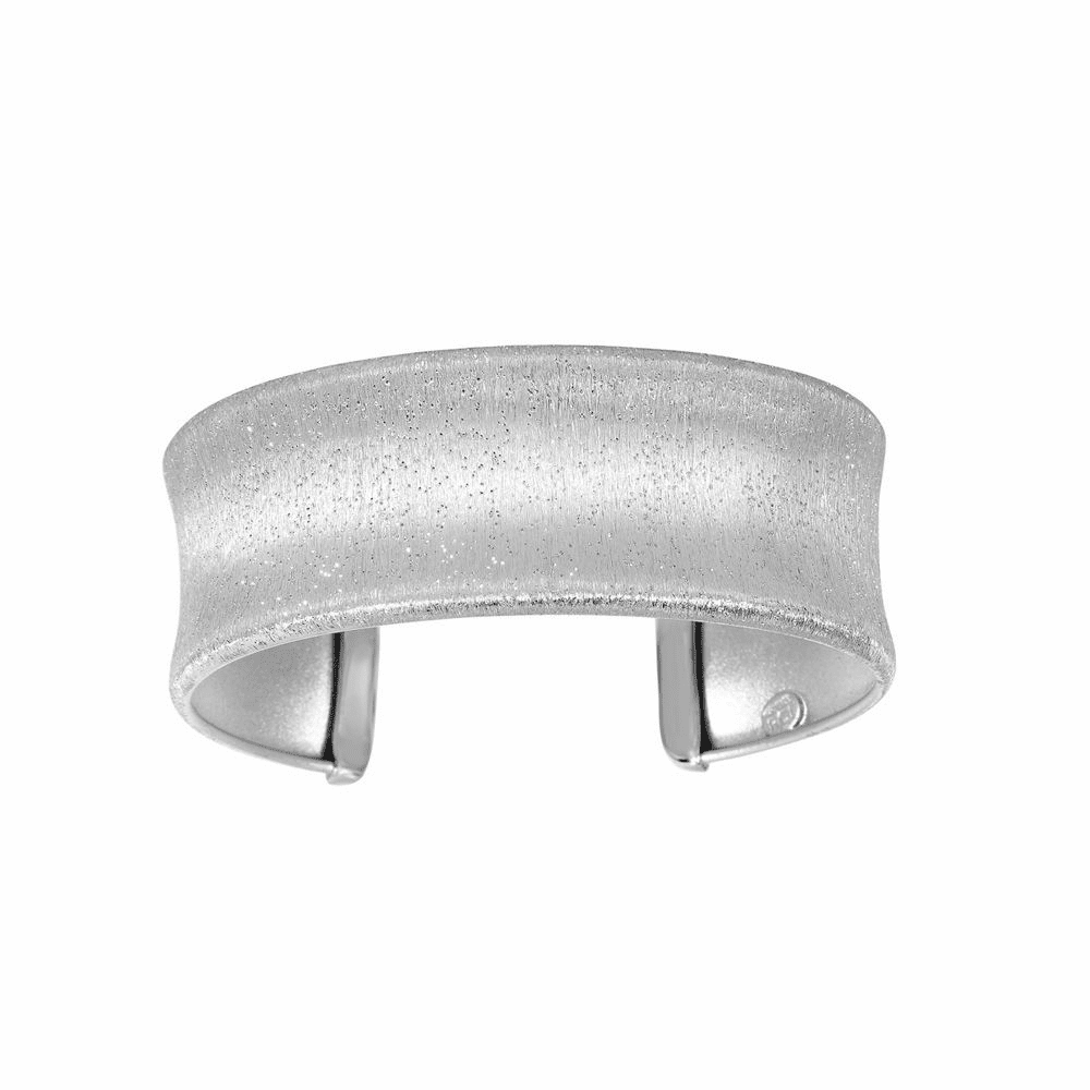 Scratched Textured Sparkle Sandblasted Cuff Bangle - Sterling Silver