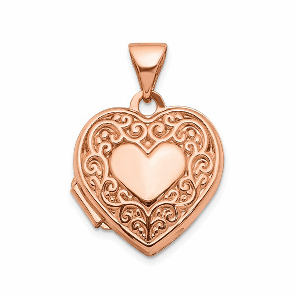 Scroll Heart Locket - 14K Rose Gold