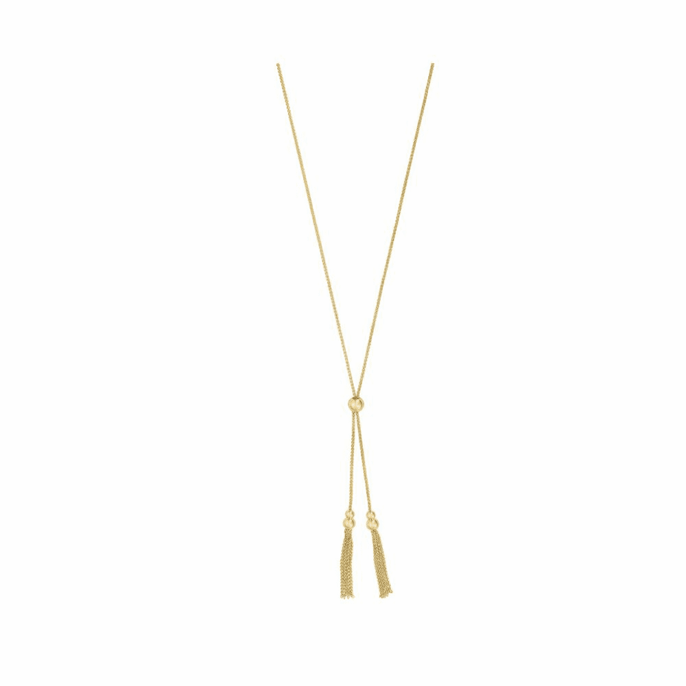 Shiny Adjustable Friendship Necklace - 14K Yellow Gold 28 Inch