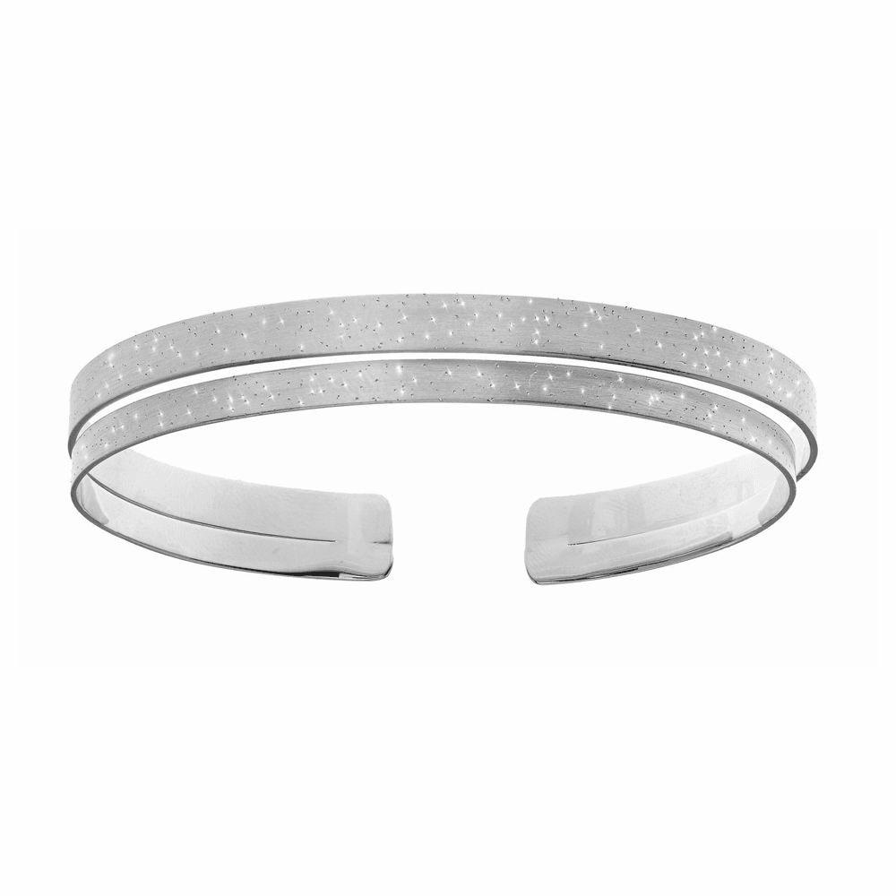 Shiny Diamond Dust Double Row Cuff Bangle - Sterling Silver