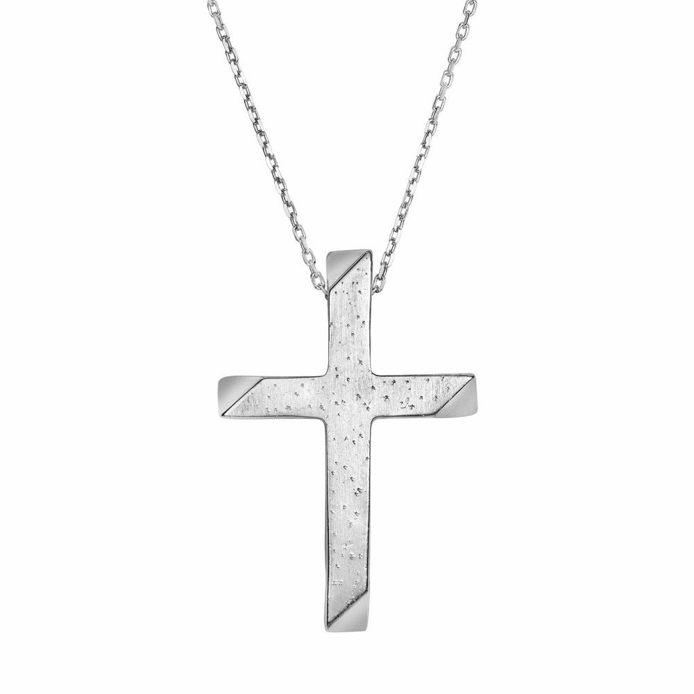 Shiny Square Tube Cross Pendant Necklace - Sterling Silver 18 Inch