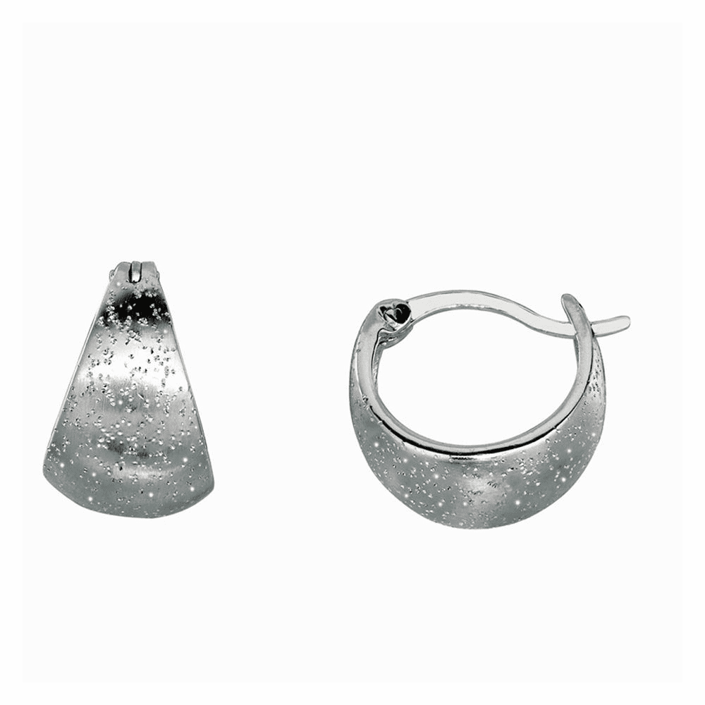 Shiny Textured Graduated Hoop Type Earrings - Sterling Silver